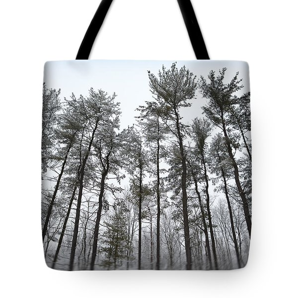Tall Snow Covered Trees Tote Bag by Sharon Dominick