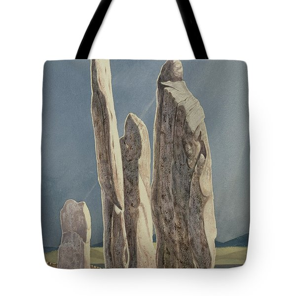 Tall Stones Of Callanish Isle Of Lewis Tote Bag by Evangeline Dickson