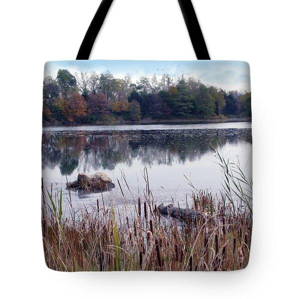 Tallgrass At Lake Katherine Tote Bag by Cedric Hampton