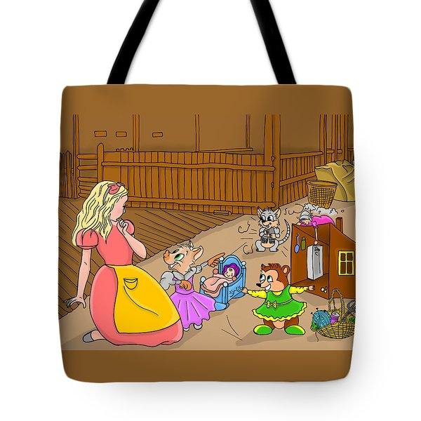 Tote Bag featuring the painting Tammy And Her Playmates by Reynold Jay