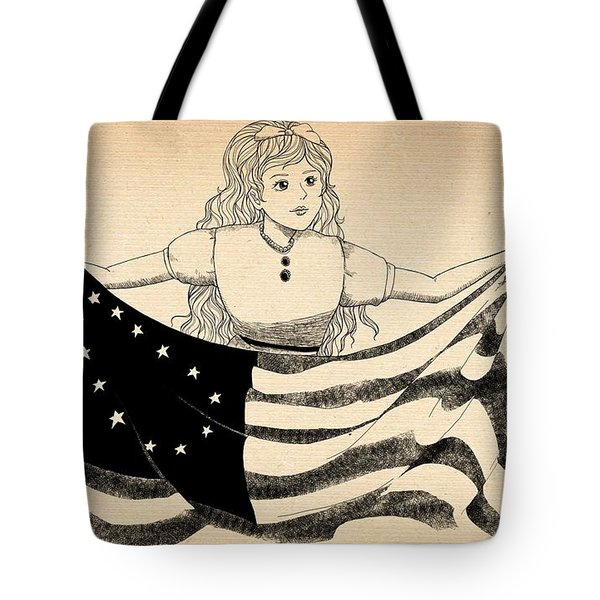 Tote Bag featuring the drawing Tammy And The Flag by Reynold Jay