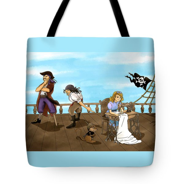 Tote Bag featuring the painting Tammy And The Pirates by Reynold Jay