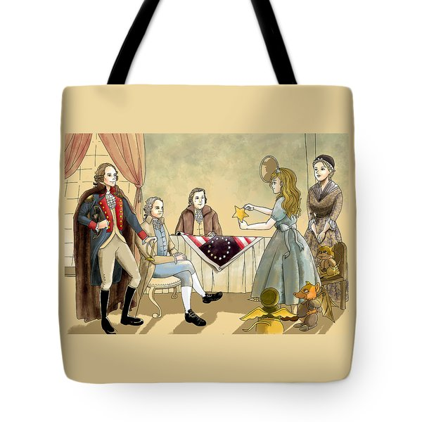 Tote Bag featuring the painting Tammy Meets Betsy Ross And George Washington by Reynold Jay