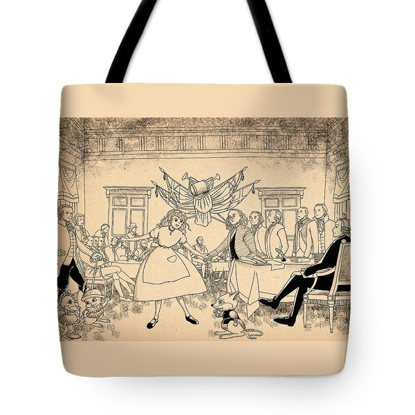 Tote Bag featuring the drawing Tammy In Indpendence Hall by Reynold Jay
