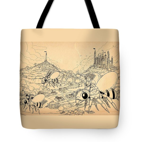 Tote Bag featuring the drawing Flight Over Capira by Reynold Jay