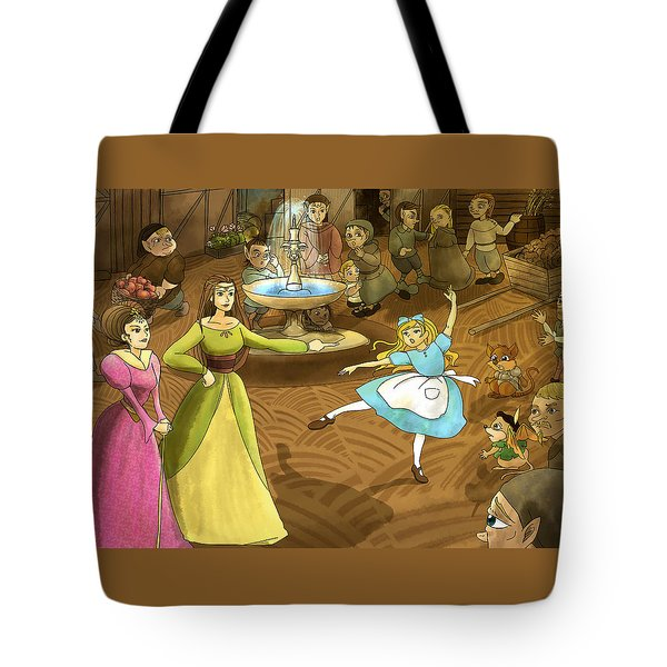 Tote Bag featuring the painting Tammy In The Town Square by Reynold Jay