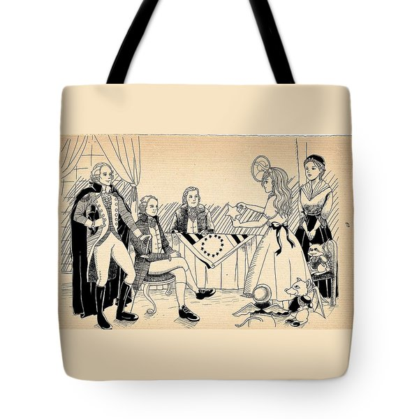 Tote Bag featuring the drawing Tammy Meets Betsy Ross by Reynold Jay