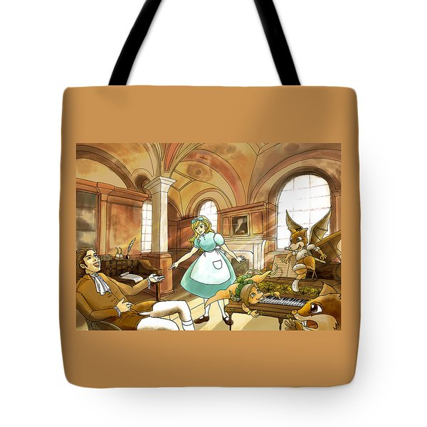 Tote Bag featuring the painting Tammy Meets Mr. Scott by Reynold Jay