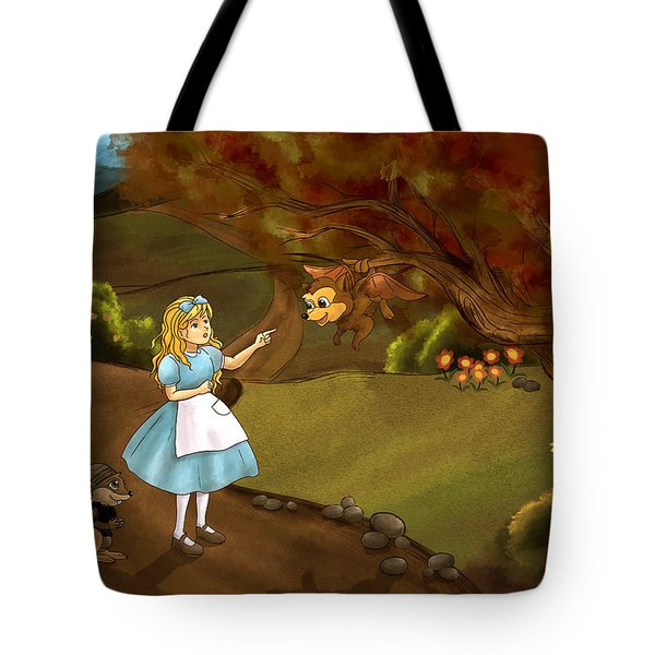 Tote Bag featuring the painting Tammy Meets Zeke The Opossum by Reynold Jay