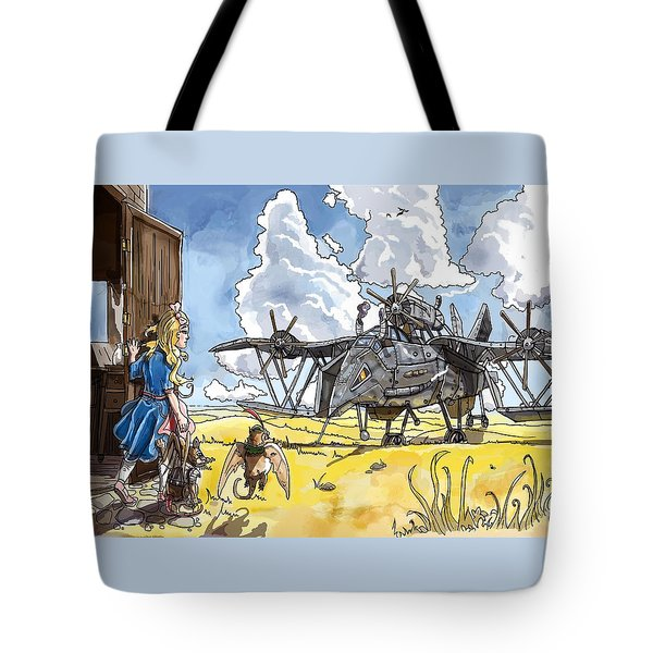 Tote Bag featuring the painting Tammy Sees A Thingamajig by Reynold Jay