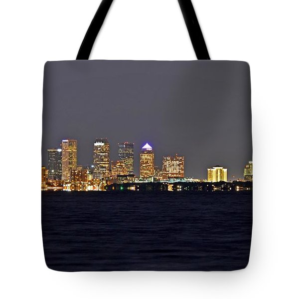 Tote Bag featuring the photograph Tampa City Skyline At Night 7 November 2012 by Jeff at JSJ Photography