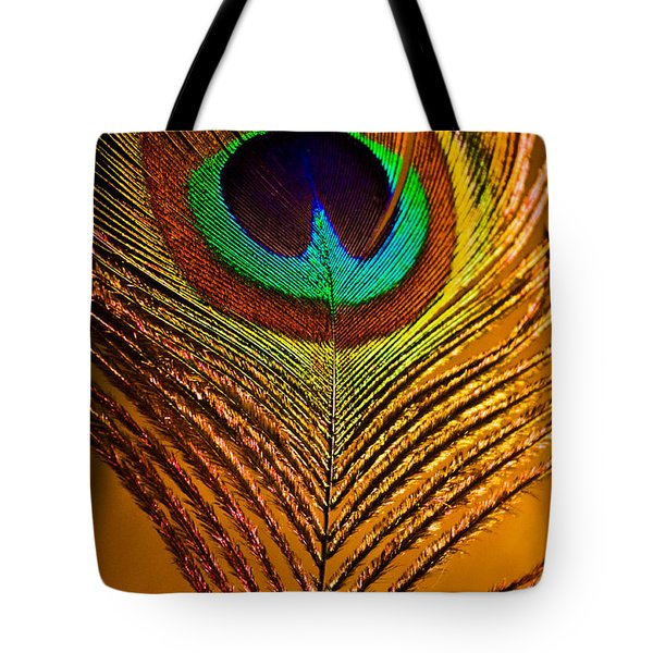 Tan Feather Tote Bag