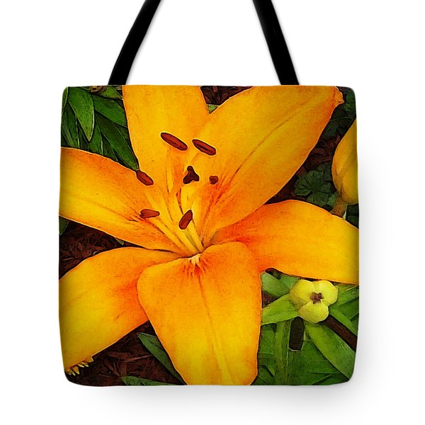 Tote Bag featuring the photograph Tangerine Asiatic Lily by Shawna Rowe