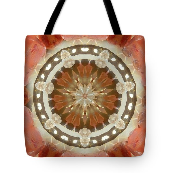 Tangerine Lemurian Seed Crystal Mandala Tote Bag