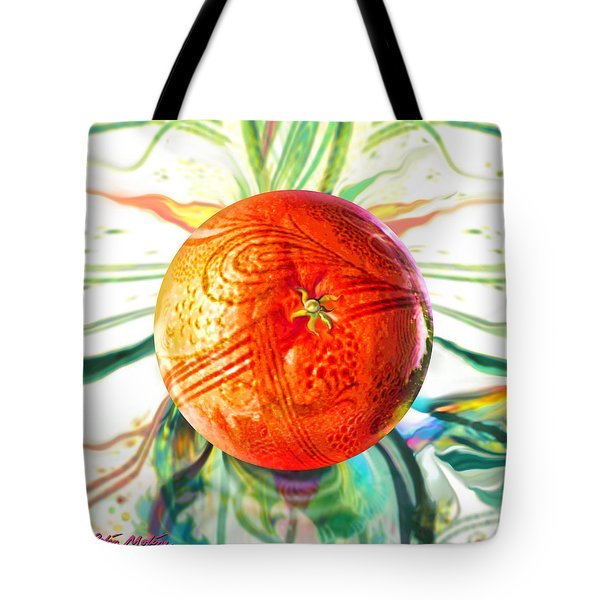 Tote Bag featuring the painting Tangerine Orb Nouveau by Robin Moline