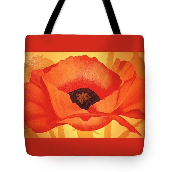 Tangerine Poppy Tote Bag by Linda Hiller