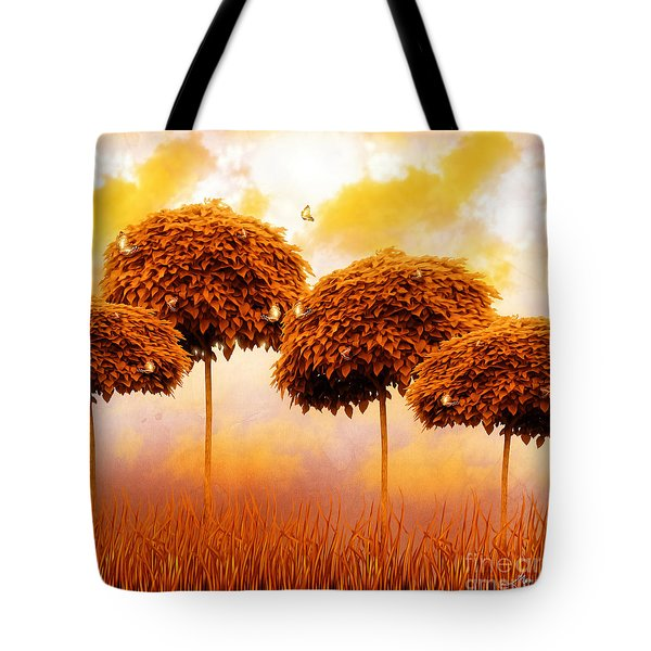 Tangerine Trees And Marmalade Skies Tote Bag by Mo T