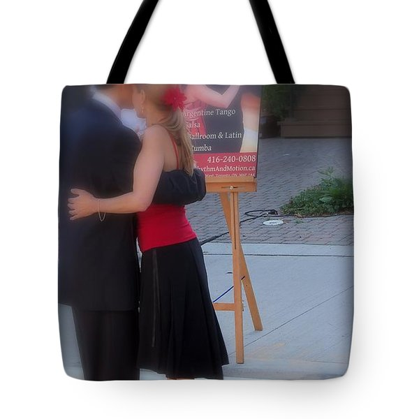 Tango Dancing On The Street Tote Bag by Lingfai Leung