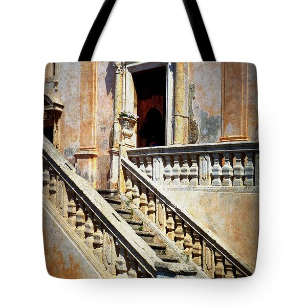 Taormina Staircase Tote Bag by Carla Parris