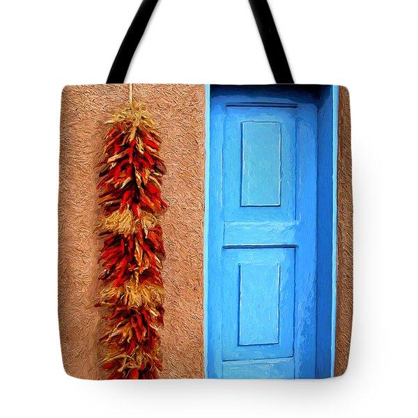 Taos Blue Door Tote Bag