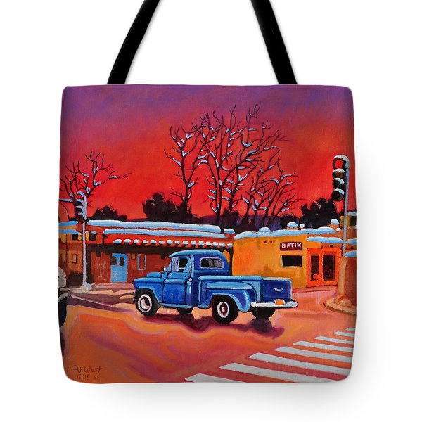 Tote Bag featuring the painting Taos Blue Truck At Dusk by Art West