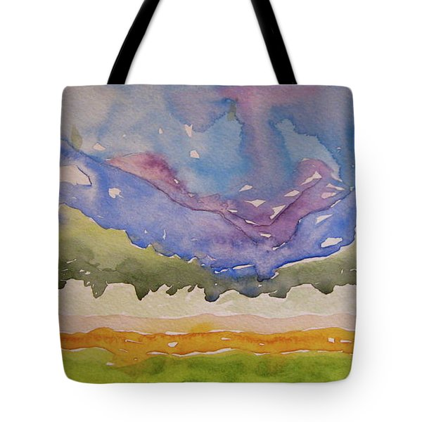 Tote Bag featuring the painting Taos Fields by Beverley Harper Tinsley