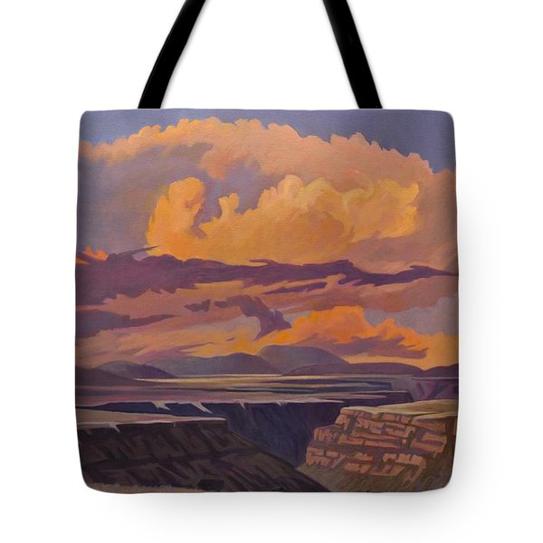 Tote Bag featuring the painting Taos Gorge - Pastel Sky by Art James West