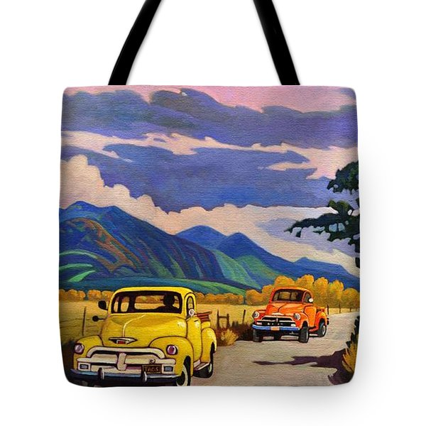 Taos Joy Ride With Yellow And Orange Trucks Tote Bag