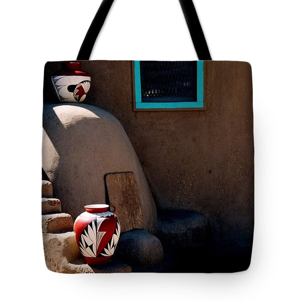 Tote Bag featuring the photograph Taos New Mexico Pottery by Jacqueline M Lewis