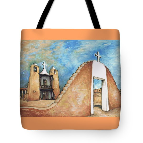 Taos Pueblo New Mexico - Watercolor Art Tote Bag by Art America Gallery Peter Potter
