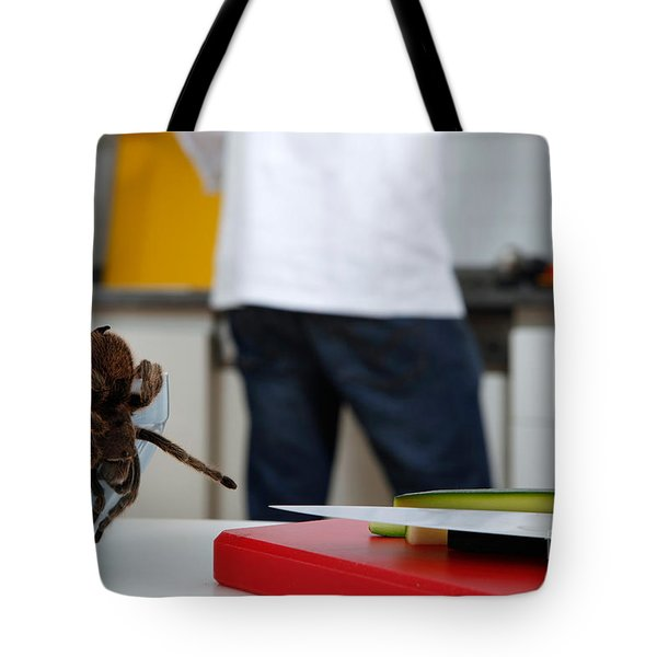 Tarantula Trying To Escape Tote Bag by Emilio Scoti