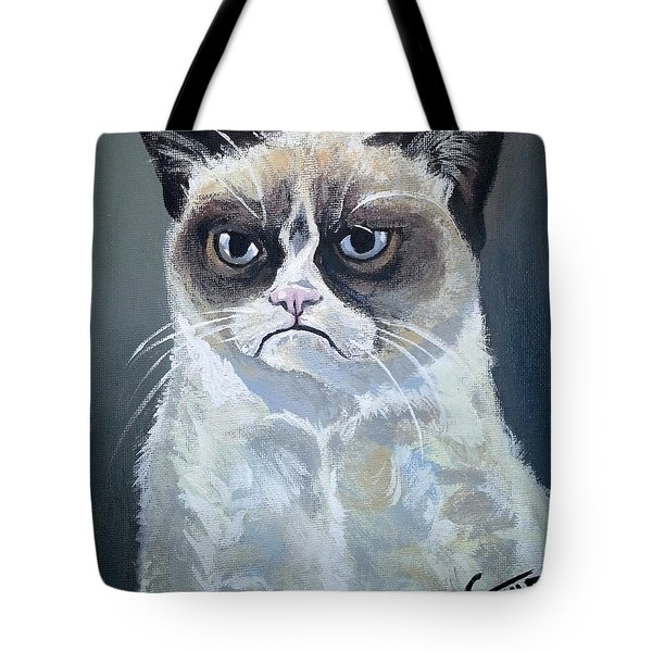 Tard - Grumpy Cat Tote Bag by Tom Carlton