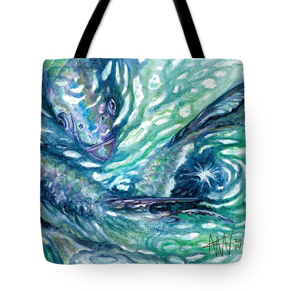 Tote Bag featuring the painting Tarpon Frenzy by Ashley Kujan