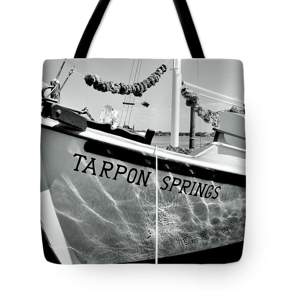 Tarpon Springs Spongeboat Black And White Tote Bag by Benjamin Yeager