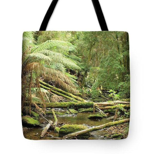 Tasmanian Rain Forest River All Profits Go To Hospice Of The Calumet Area Tote Bag