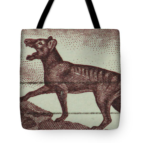 Tasmanian Tiger Vintage Postage Stamp Tote Bag by Andy Prendy