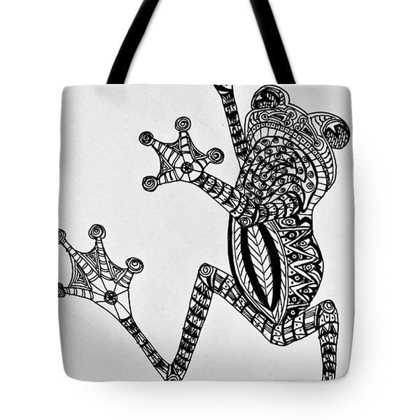 Tattooed Tree Frog - Zentangle Tote Bag by Jani Freimann