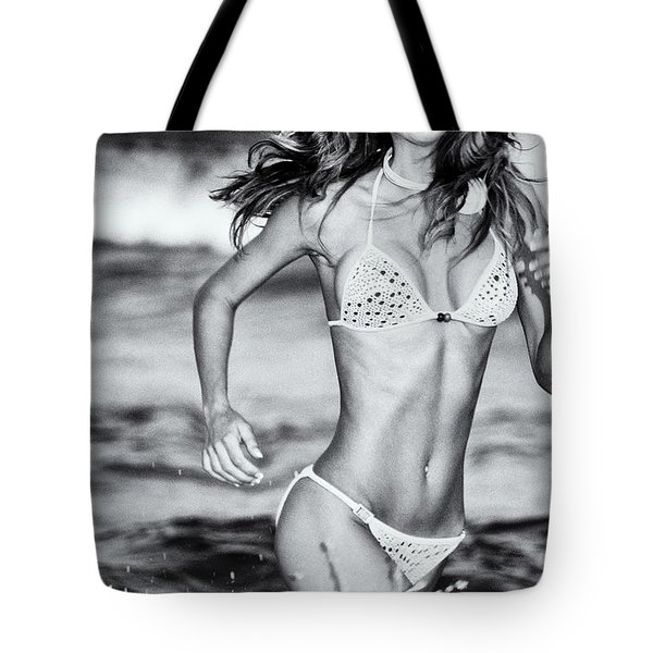 Tote Bag featuring the photograph Ms Turkey Tatyana Running Wild In The Ocean Waves - Glamor Girl Photo Art by Amyn Nasser