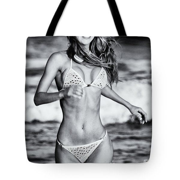 Tote Bag featuring the photograph Ms Turkey Tatyana Running In The Ocean Waves - Glamor Girl Photo Art by Amyn Nasser