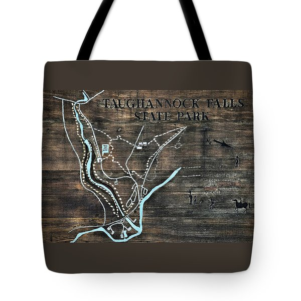 Taughannock Falls State Park Trail Map Sign Tote Bag by Christina Rollo