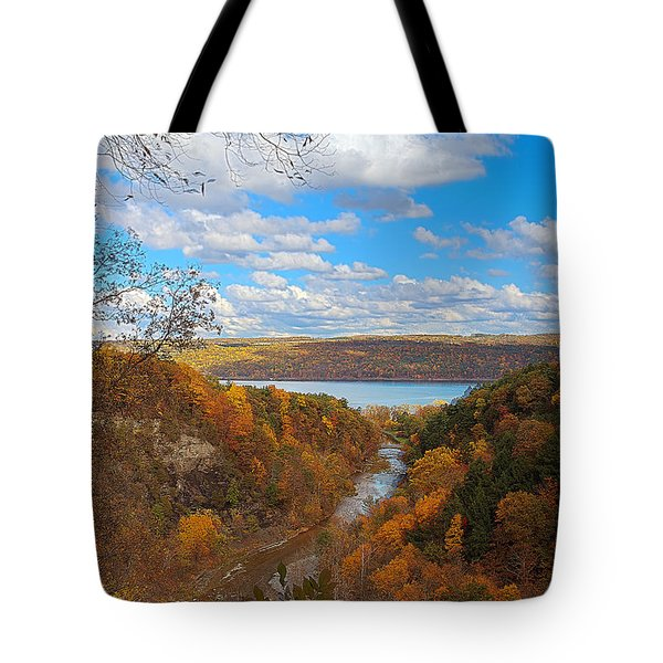 Tote Bag featuring the painting Taughannock River Canyon In Colorful Fall Ithaca New York Iv by Paul Ge