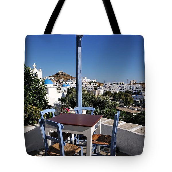 Tavern In Ios Town Tote Bag