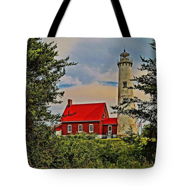 Tawas Point Light Retro Mode Tote Bag