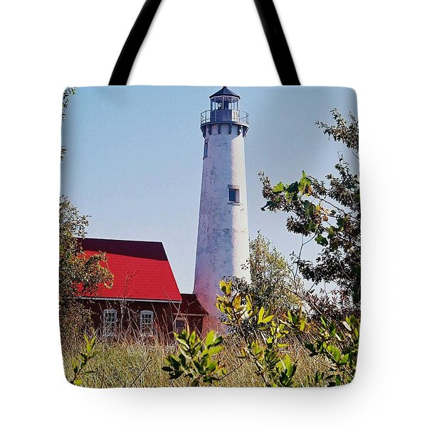 Tawas Point Lighthouse...from Tawas Bay Side Tote Bag by Daniel Thompson