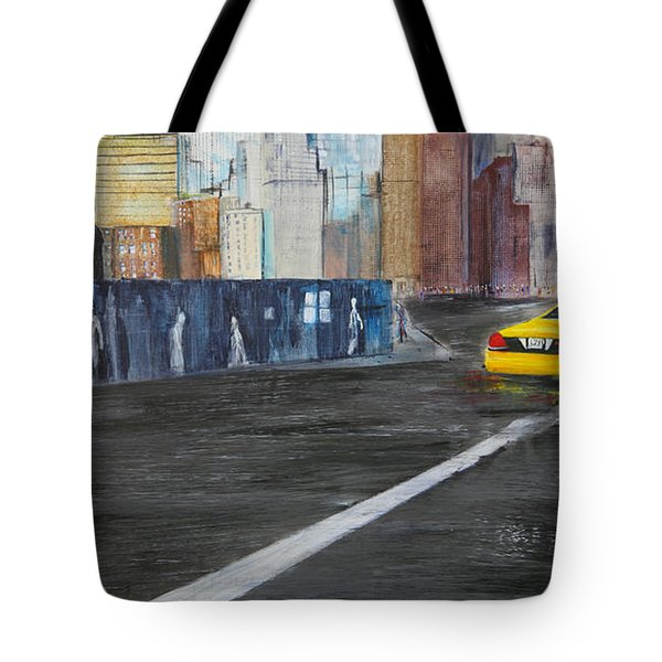 Taxi 9 Nyc Under Construction Tote Bag