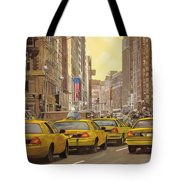 Tote Bag featuring the painting taxi a New York by Guido Borelli