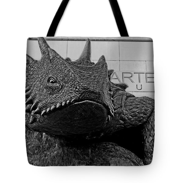 Tcu Horned Frog Black And White Tote Bag