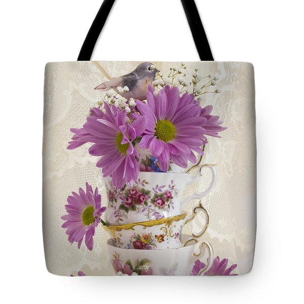 Tea Cups And Daisies  Tote Bag