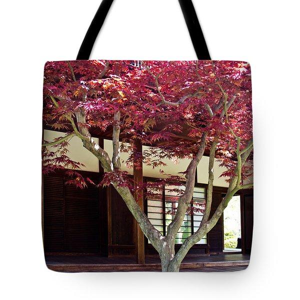 Tea House Thru The Maple Tote Bag by Tom Gari Gallery-Three-Photography