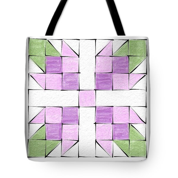 Tea Rose Quilt Block Tote Bag
